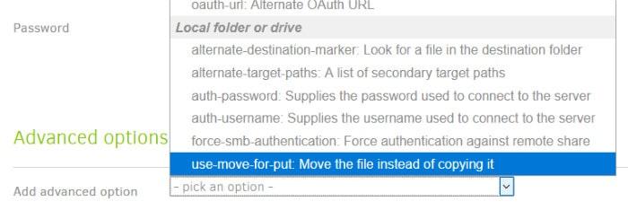 duplicati backup set advanced options