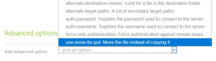 duplicati backup set advanced options drop down box