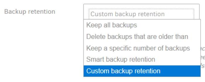 duplicati backup set retention settings