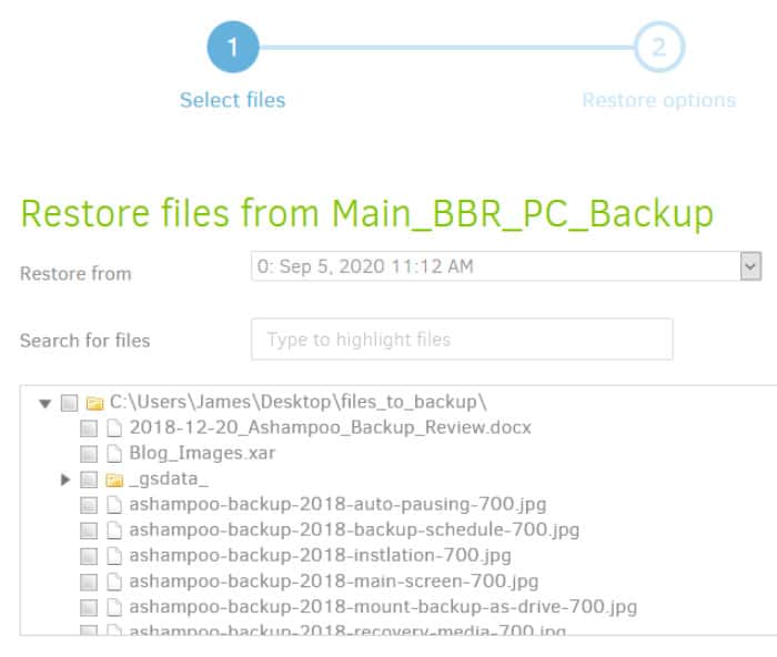 duplicati restore file selection and search