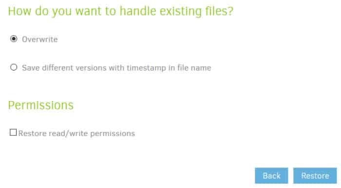duplicati restore and overwrite options