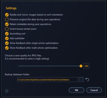 photo optimizer 8 general application settings