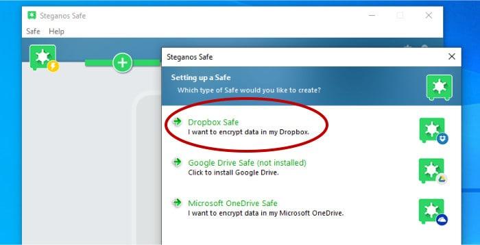 steganos safe 22 - chooing dropbox as cloud provider