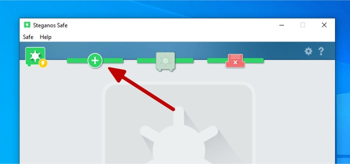 steganos create new safe button on dashboard