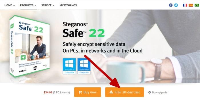 steganos safe 22 review - download installer button