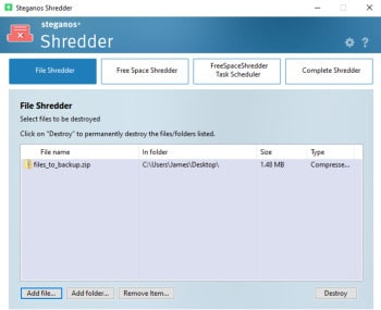 steganos safe 22 - file shredder tool