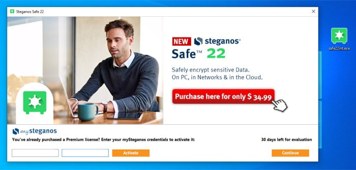 steganos safe 22 installer splash screen