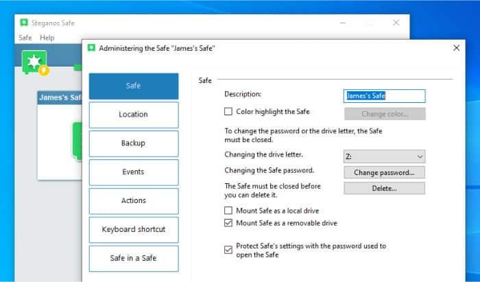 steganos safe settings screen