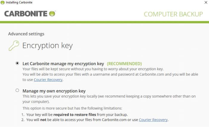 backblaze vs carbonite - encryption settings for carbonite