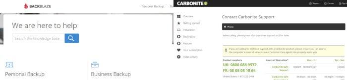 backblaze vs carbonite - support comparison