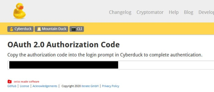 cyberduck dropbox auth code