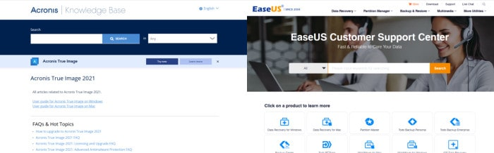 acronis true image vs easeus todo backup support