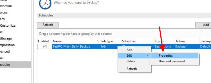 backup4all edit backup set schedule