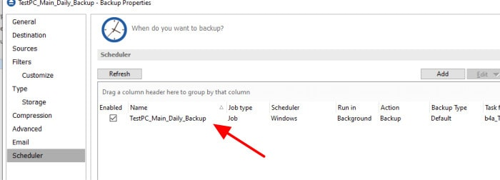 backup4all scheduling entries