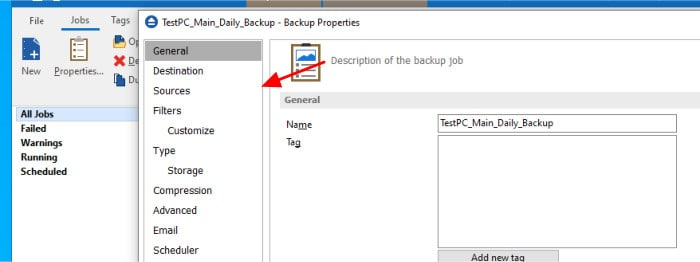 backup4all backup set properties window