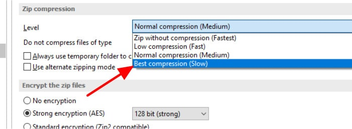 backup4all compression options drop down