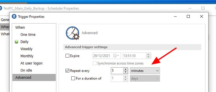 backup4all edit advanced scheduling options