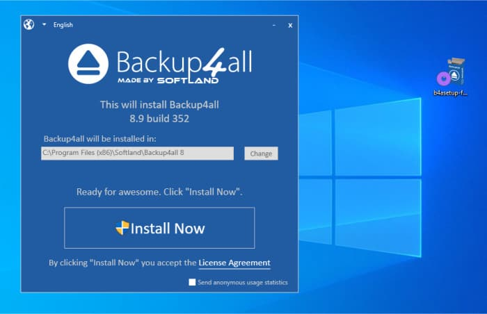 backup4all initial installer config screen