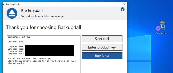 backup4all installer licence or trial screen