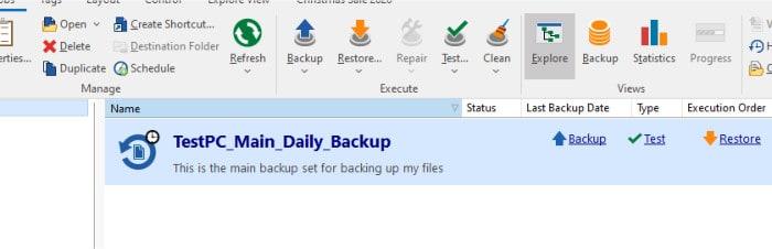 backup4all new backup set in application