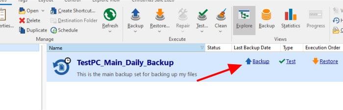 backup4all run backup set manually