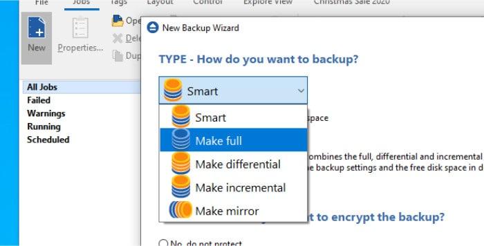 backup4all backup methods list