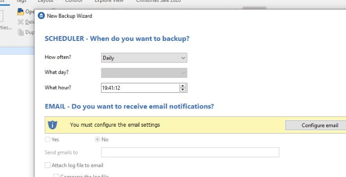 backup4all wizard configure schedule and email
