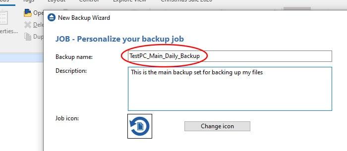 backup4all backup wizard naming backup set
