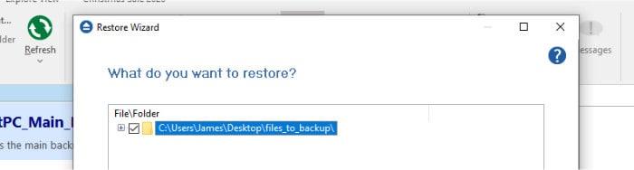 backup4all restore file picker