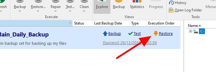 backup4all restore files link