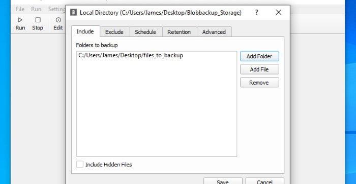 blobbackup file added to backup set