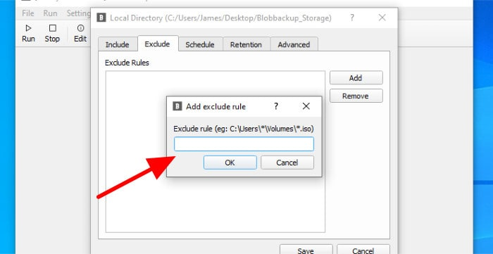 blobbackup exclude files from backup