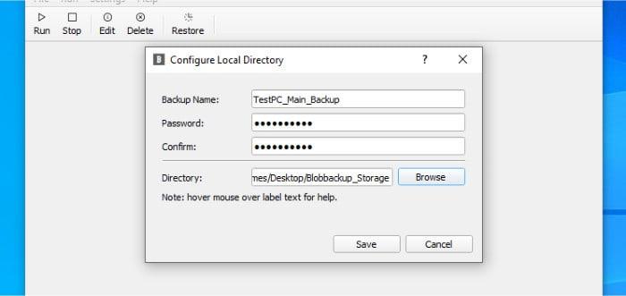 blobbackup naming new backup set