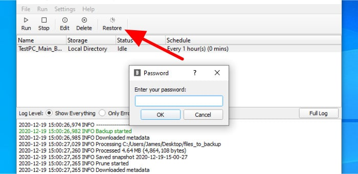 blobbackup restore button on toolbar