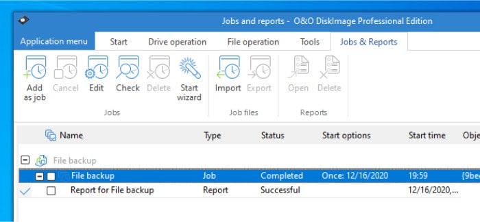 diskimage 16 file backup finished report