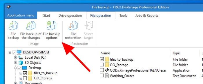 diskimage 16 file backup options