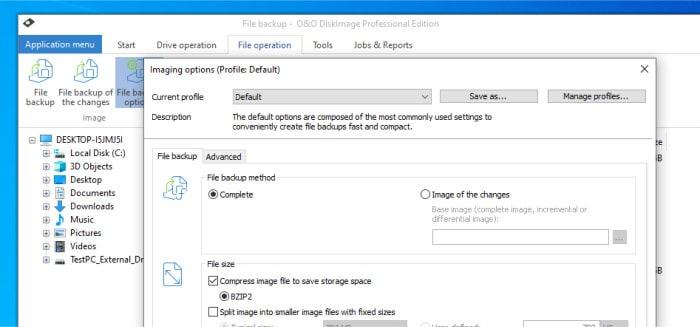 o&o diskimage 16 file backup options screen
