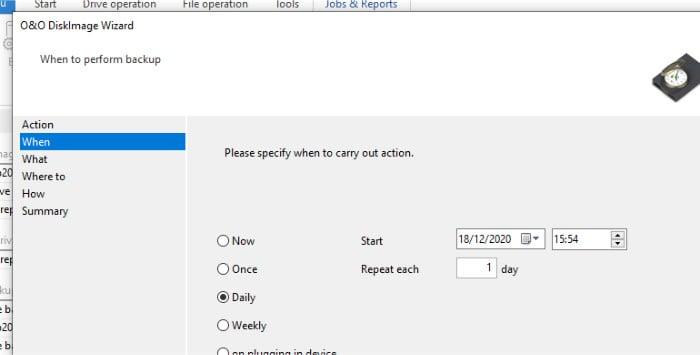 diskimage 16 file backup scheduling