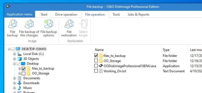 o&o diskimage 16 file picker tool
