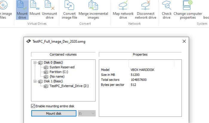 diskimage 16 mount image as drive within windows