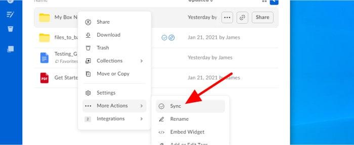 box.com turn on folder sync