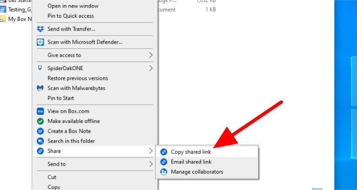 box windows context menu sharing