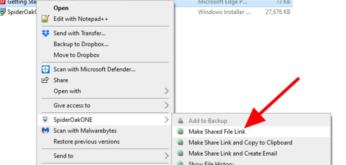 spideroak one share with context menu