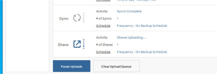 spideroak dashboard sync and sharing sections