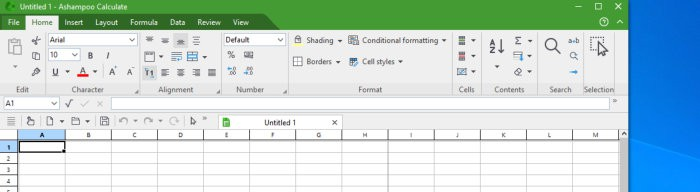 office 8 calculate - home menu tab