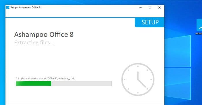 ashampoo office 8 installer running