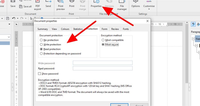 office 8 password protection settings