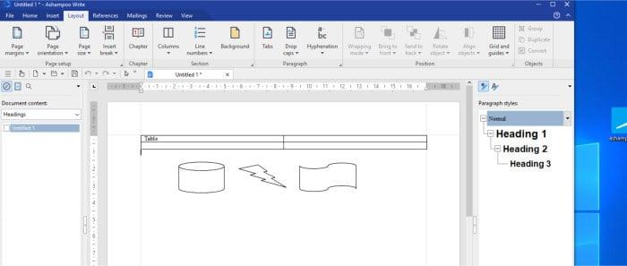 office 8 write app flowchart shapes