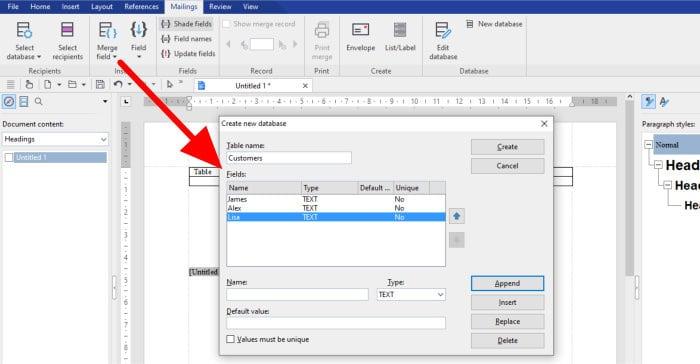 office 8 write app - create mailings database