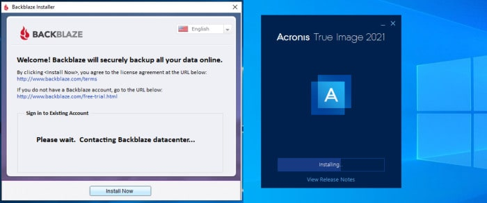 true image vs backblaze installer comparison